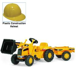 Kettler 023288 CAT Kid Tractor with Yellow Plastic Construction Helmet