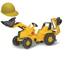 Kettler 813001 CAT Frontloader with Backhoe & Yellow Plastic Construction Helmet