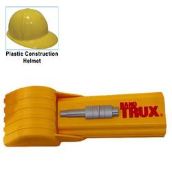 HandTrux Backhoe Toy Digger with Yellow Plastic Construction Helmet