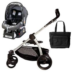 Peg Perego Book Chassis in Silver with Pois Grey Car Seat & Diaper Bag