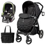 Peg Perego Book Plus Stroller Travel System with a Diaper Bag - Pois Black /Nero Energy