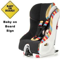 Clek Foonf Convertible Seat w/Baby on Board Sign  - Paul Frank Julius Stripe