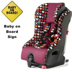Clek Foonf Convertible Seat w/Baby on Board Sign  - Paul Frank Heart Shades