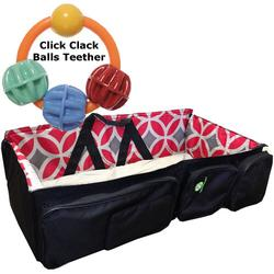 QuickSmart B10219USA 3 in 1 Diaper Bag/Travel Bassinet WithTeether Black Red