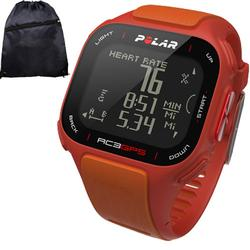 Polar 90047381KT RC3 GPS Sports Watch - Without Heart rate with Cinch Bag Red/Orange