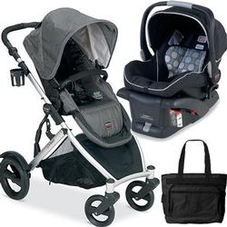 Britax B-Ready Stroller in Slate and B-Safe Infant Carrier in Black with Diaper Bag