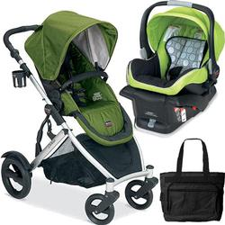 Britax B-Ready Stroller in Moss and B-Safe Infant Carrier in KIWI with Diaper Bag