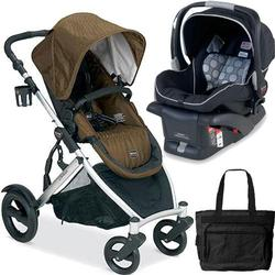 Britax B-Ready Stroller in Copper and B-Safe Infant Carrier in Black with Diaper Bag