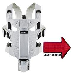 Baby Bjorn - Baby Carrier Miracle  with LED Safety Reflector Light - Silver Mesh