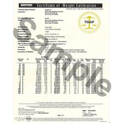 Rice Lake Traceable Certificate for 12610