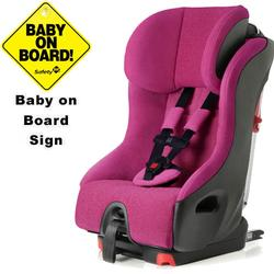 Clek foonf convertible seat w/Baby on Board Sign - flamingo