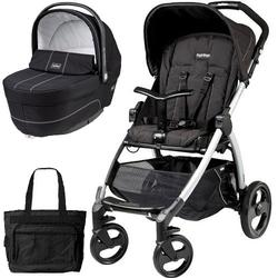 Peg Perego Book Stroller and Navetta XL Bassinet -  Pratico Silver Chassis with bag