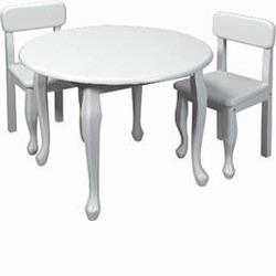 GiftMark 3000 Queen Anne Round Table and Chair Set, White