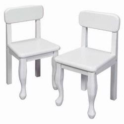 GiftMark 3003 Wood Queen Anne Chair Set, White