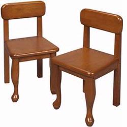 GiftMark 3003 Wood Queen Anne Chair Set, Honey