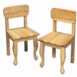 GiftMark 3003 Wood Queen Anne Chair Set, Natural