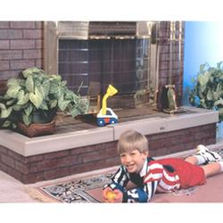 The Kid Kusion Fireplace Bumper Pad covers 90 inches across the hearth