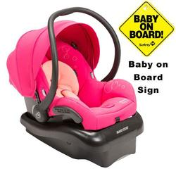 Maxi-Cosi IC152BIW Mico AP Infant Car Seat w/ Baby on Board Sign- Passionate Pink
