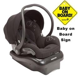 Maxi-Cosi IC152BIZ Mico AP Infant Car Seat w/ Baby on Board Sign - Devoted Black