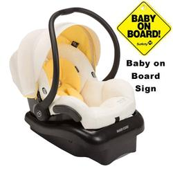 Maxi-Cosi IC152CED Mico AP Infant Car Seat w/ Baby on Board Sign - Butter Cream
