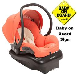 Maxi-Cosi IC152ORZ Mico AP Infant Car Seat w/ Baby on Board Sign  - Orange Zest