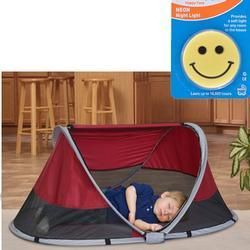 KidCo P3010KT PeaPod Portable Travel Bed - Cranberry with Happy Face Night Light