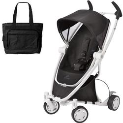 Quinny CV262BIK Zapp Xtra Folding Seat Stroller - Black Irony (white frame) with diaper bag