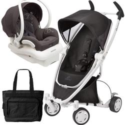 Quinny CV262BIK Zapp Xtra Folding SeatTravel system with diaper bag and car seat - Black Irony (white frame)