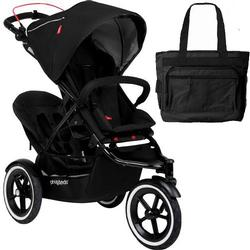 Phil & Teds Navigator Buggy Stroller with Doubles Kit and Diaper Bag  - Black