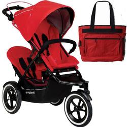 Phil & Teds Navigator Buggy Stroller with Doubles Kit and Diaper Bag   - Cherry