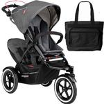 Phil & Teds Navigator Buggy Stroller with Doubles Kit and Diaper bag - Graphite