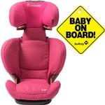 Maxi-Cosi BC090OGR Rodi AP AirProtect Booster Car Seats w Baby on Board Sign- Origami Rose