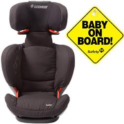 Maxi-Cosi BC090APU Rodi AP AirProtect Booster Car Seats w Baby on Board Sign- Total Black