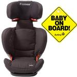 Maxi-Cosi BC077APU Rodi fix Booster Seat w Baby on Board Sign -Total Black