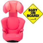Maxi-Cosi BC077BGW Rodi fix Booster Seat w Baby on Board Sign -Sweet Cerise