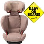 Maxi-Cosi BC077WBN Rodi fix Booster Seat w Baby on Board Sign  -Walnut Brown