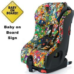 Clek foonf Convertible Car Seat w/Baby on Board Sign  - tokidoki all over