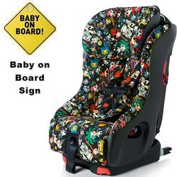 Clek foonf Convertible Car Seat w/Baby on Board Sign  - tokidoki rebel