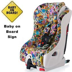Clek foonf Convertible Car Seat w/Baby on Board Sign - tokidoki travel