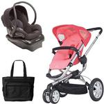 Quinny Buzz 3 Travel System in Pink / Black with Diaper Bag