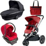 Quinny Buzz Xtra Travel System and  Bassinet in Red with Diaper Bag