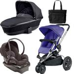 Quinny Buzz Xtra Travel System and  Bassinet in Purple with Diaper Bag