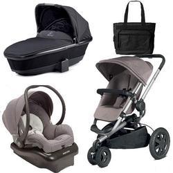 Quinny Buzz Xtra Travel System in Grey with Black Bassinet and Diaper Bag