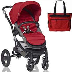 Britax Affinity Stroller with Diaper Bag in Red and Black Frame