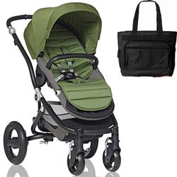 Britax Affinity Stroller with Diaper Bag in Green and Black Frame