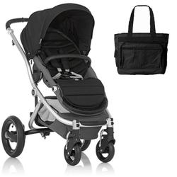 Britax Affinity Stroller with Diaper Bag in Black and Silver Frame