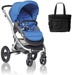 Britax Affinity Stroller with Diaper Bag in Blue and Silver Frame