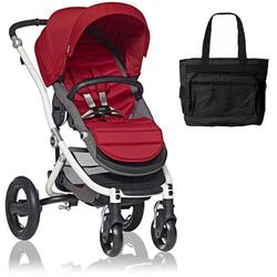 Britax Affinity Stroller with Diaper Bag in Red and White Frame