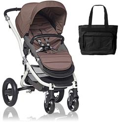 Britax Affinity Stroller with Diaper Bag in Brown and White Frame