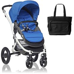 Britax Affinity Stroller with Diaper Bag in Blue and White Frame